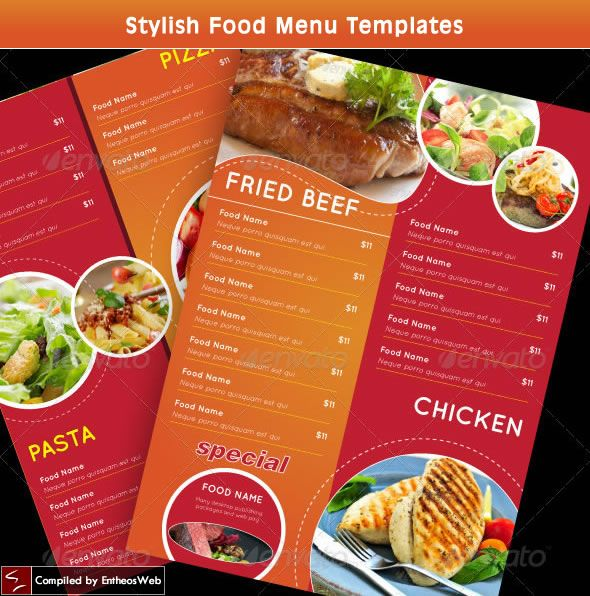 Stylish Food Menu Templates
