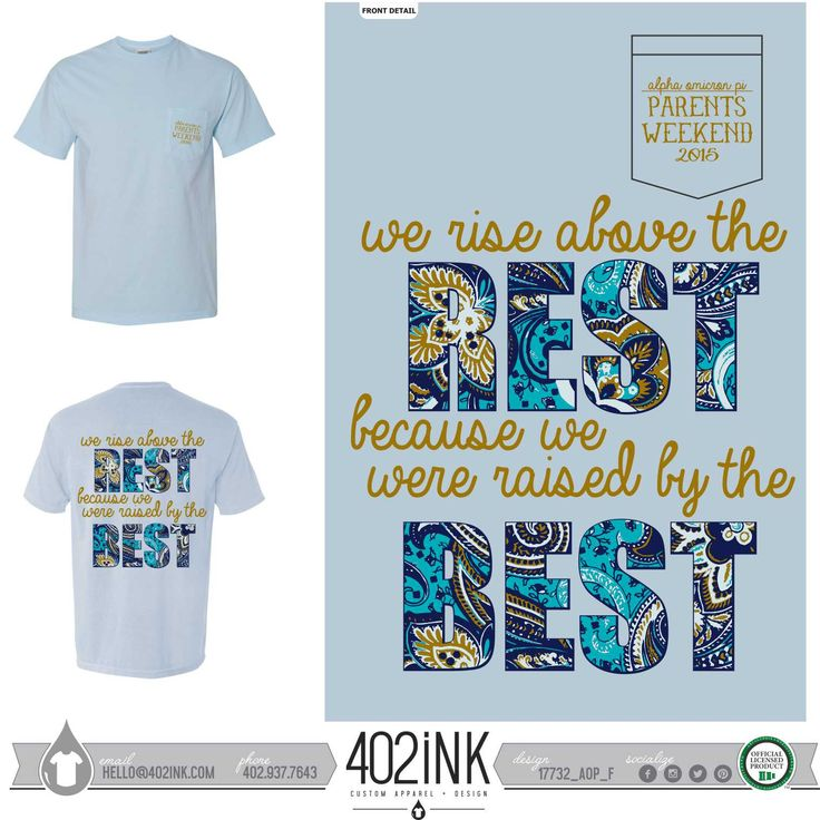#402ink #402style 402ink, Custom Apparel, Greek T-shirts, Sorority T-shirts, Fraternity T-shirts, Greek Tanks, Custom Greek Apparel, Screen printed apparel, embroidered apparel, Sorority, AOPI, Alpha Omicron Pi, Family Weekend, Parents Weekend, Comfort Colors