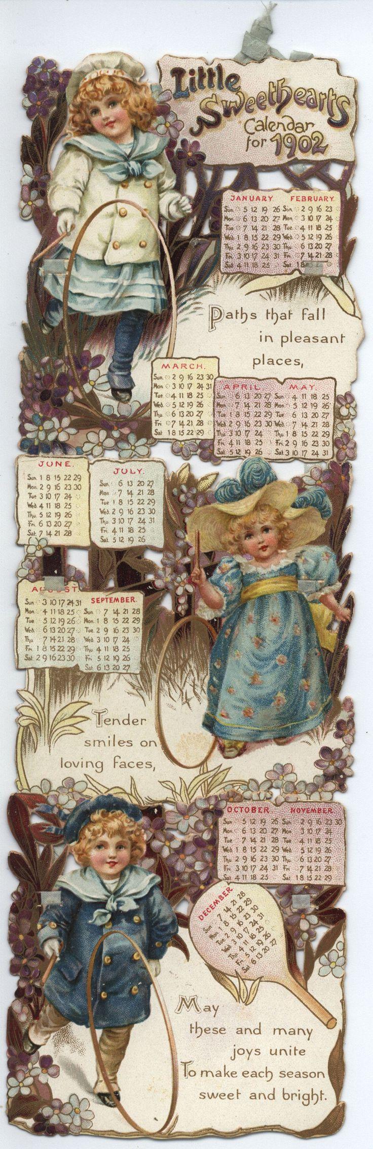 Full Sized Image: LITTLE SWEETHEARTS CALENDAR FOR 1902 - TuckDB Ephemera