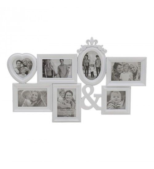 PL PHOTO FRAME W_7 SECTIONS IN WHITE COLOR 66X3X41_5