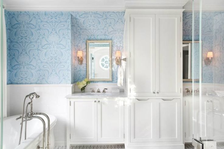 Traci Rhoads Interiors Bathrooms Tiled Half Wall