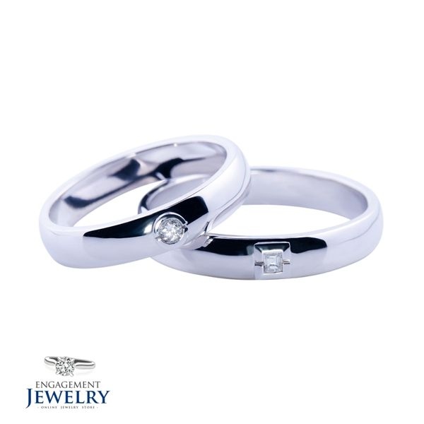 Set verighete cu Diamant PAL-VEG-004  Set verighete cu Diamant(4.90g 5.50g)