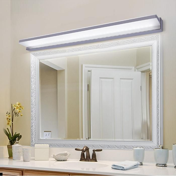 The Art Gallery Modern brief waterproof LED mirror light fixture antimist bathroom mirror cabinet stainless steel wall lamp