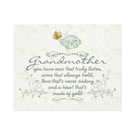 Grandmother Poem with Birds Stretched Canvas Print