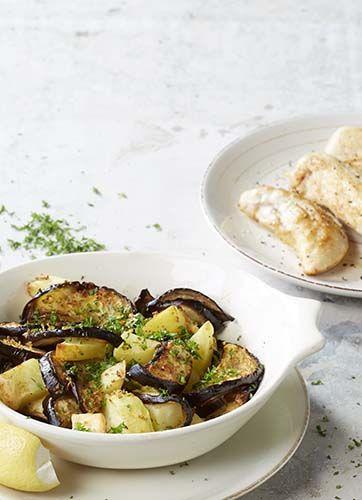 Kippenhaasjes met geroosterde aardappelen en aubergines