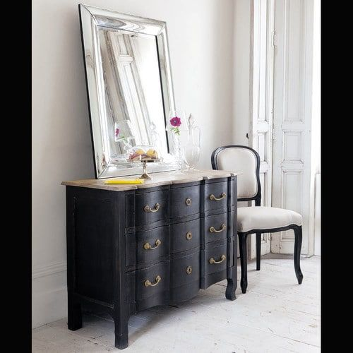Mango wood chest of drawers in black W 110cm