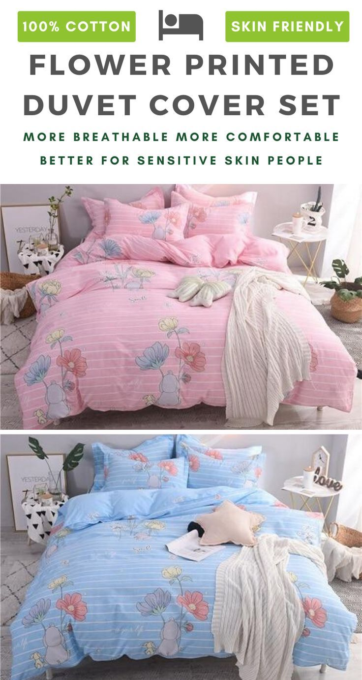 Flowers Printed 100 Cotton Bedding Set In 2020 Cotton Bedding