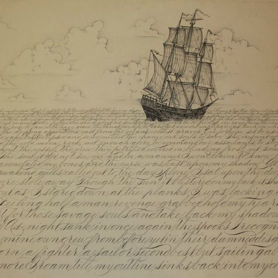 Ship sketch with waves of letters.