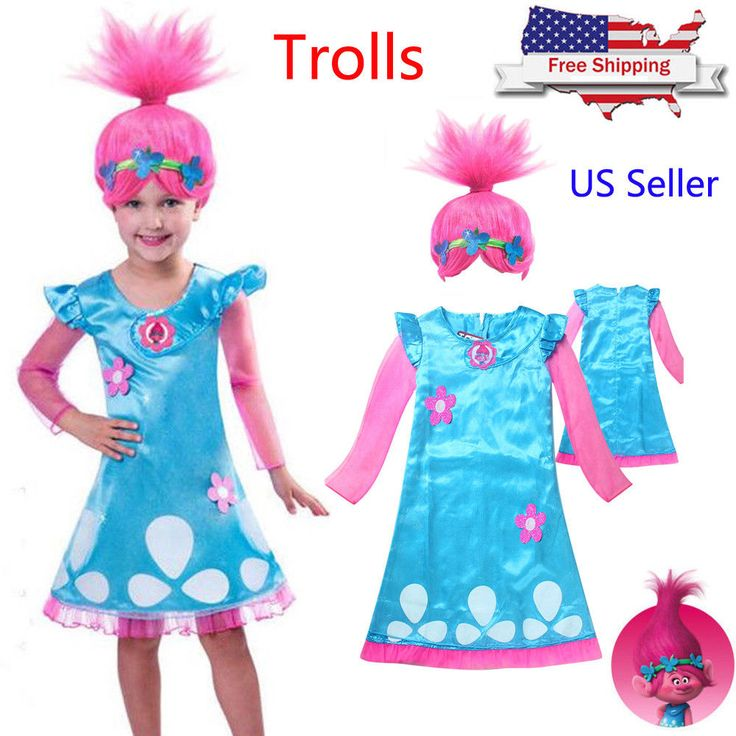 Cool Awesome Child Trolls Poppy Troll Doll Fancy Dress Kids Girls Outfit Costume Wigs Cosplay  2018