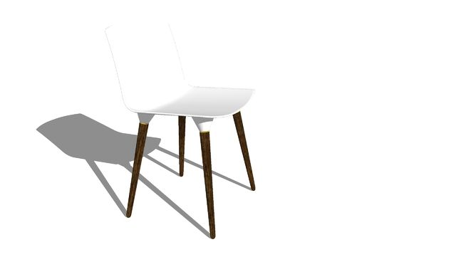 Chair with seat of fiberglass    RAL 9010 - Snow - white    Walnut Legs