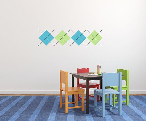 Argyle nursery wall decal, - Small  DB301 on Etsy, $25.00 - perfect scarlet & gray if we ever had a boy!
