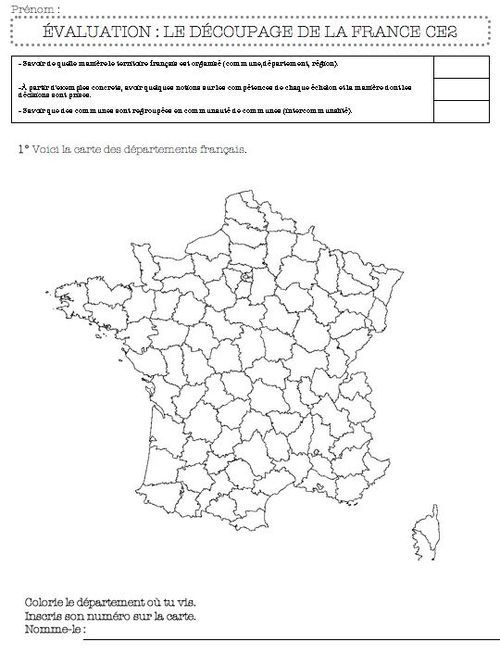 le découpage administratif de la France-ce2