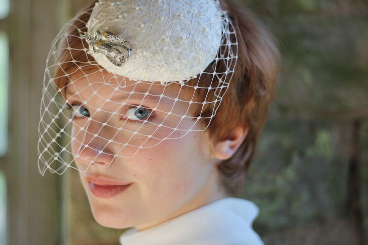 Bridal Hat, Pearl Beret with vintage brooch and veil. http://www.theheadmistressboutique.com/ https://www.etsy.com/uk/shop/headmistressboutique?ref=si_shop
