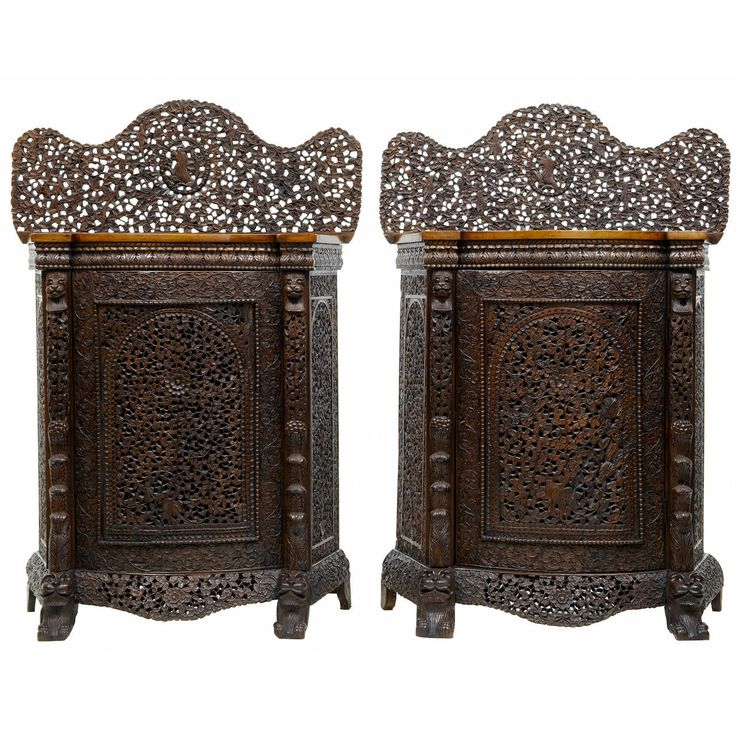 Pair Of 19th Century Carved Anglo Indian Padouk Cabinets | From a unique collection of antique and modern cabinets at https://www.1stdibs.com/furniture/storage-case-pieces/cabinets/