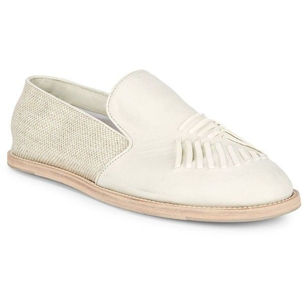 Billy Reid Leather Slip-On Shoes ($150) ❤ liked on Polyvore featuring men's fashion, men's shoes, men's dress shoes, mens woven leather slip-on shoes, mens rubber sole dress shoes, mens white dress shoes, mens leather slip on shoes and mens white leather dress shoes