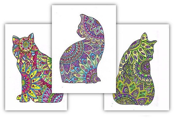 Cats-3 Adult Coloring Pages: Instant Digital Download Outline of a Cat Filled with Decorative Images