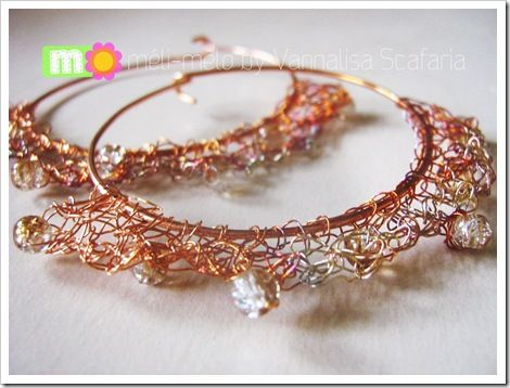 Crocheted copper wire and glass beads for these earrings full of light