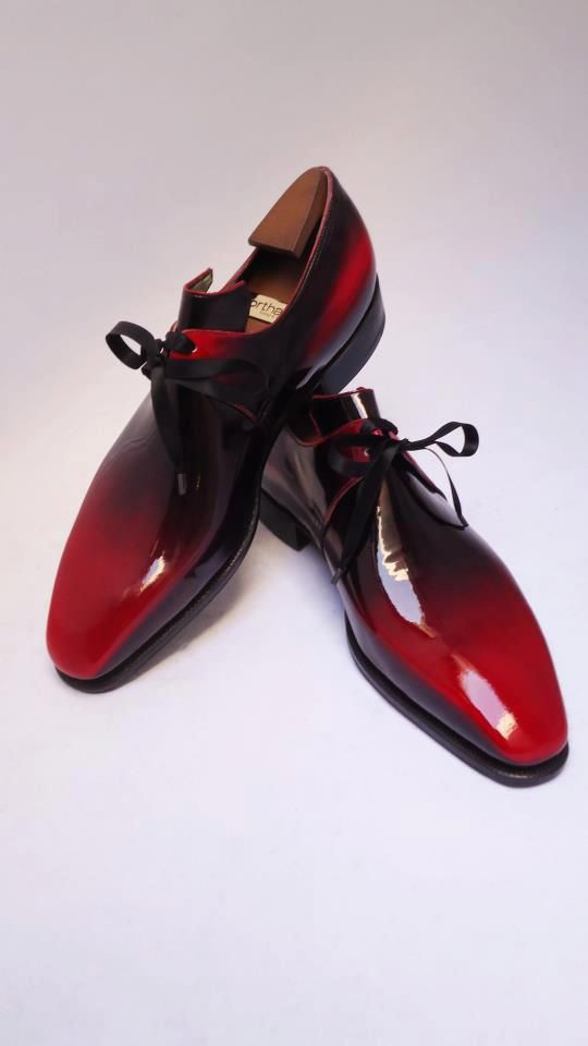 Men's red gradient patent leather shoes...so fly!