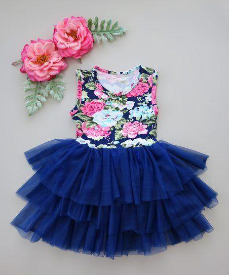 98e66e405d9d Whitney Elizabeth Navy   Pink Floral Tiered Tutu Dress - Infant ...