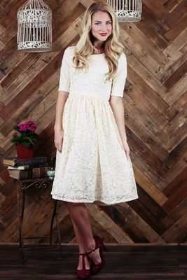 """Haley"" A-Line Modest Dress in Cream Lace"