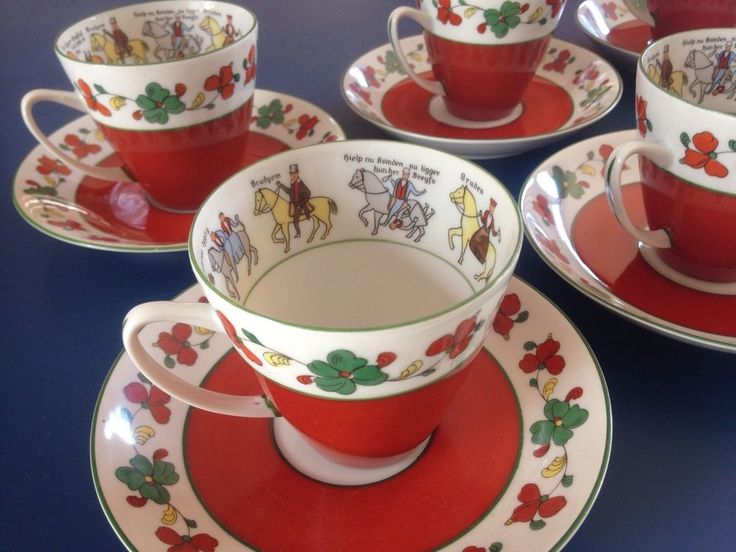 Rare Porsgrund Wedding Processional Cup And Saucers X 6 Made In Norway Ex Cond in Pottery, Glass, Pottery, Porcelain, Duchess | eBay