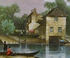 Antique engraving, River Avon at Bathampton, nr Bath.