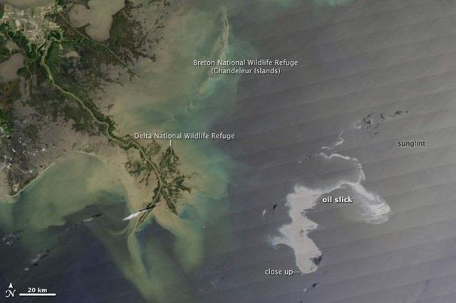 An estimated 42,000 gallons of oil per day were leaking from an oil well in the Gulf of Mexico, on April 20, 2010: Damaged Well, April 25Th, Oil Spill, Mexico April, April 20, Gulf Of Mexico, Oil Leakes, Photo, Oil Well