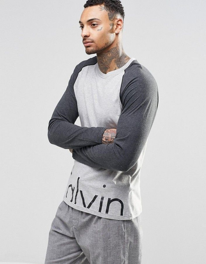 Calvin Klein T-Shirt Long Sleeve Comfort Cotton In Slim Fit. Long  SleeveCottonClothingOutfitT ShirtsCalvin Klein ManShopsLoungewearMen Fashion
