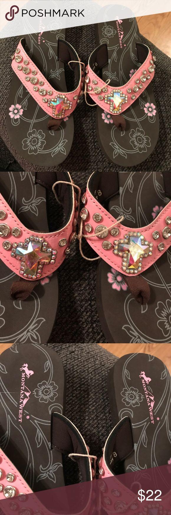 Montana west cross bling flip flops sz 8 Pink brand new sz 8.  Never worn. Montana West Shoes Sandals