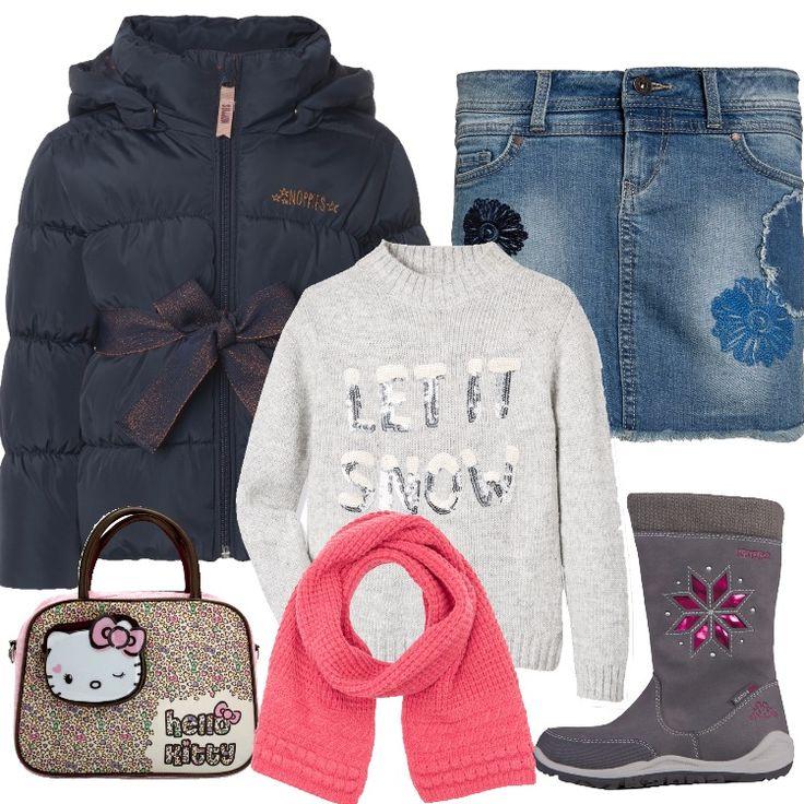 Un outfit pensato per una bambina di sei anni: giacca imbottita blu, cappuccio, zip, cintura in vita in tessuto brillantinato, gonna in jeans con ricami ed applicazione in tessuto. Maglione grigio, paillettes, scollo tondo, stivaletto grigio imbottito, fantasia, borchie, piccola borsetta a mano rosa in fantasia, sciarpa rosa.