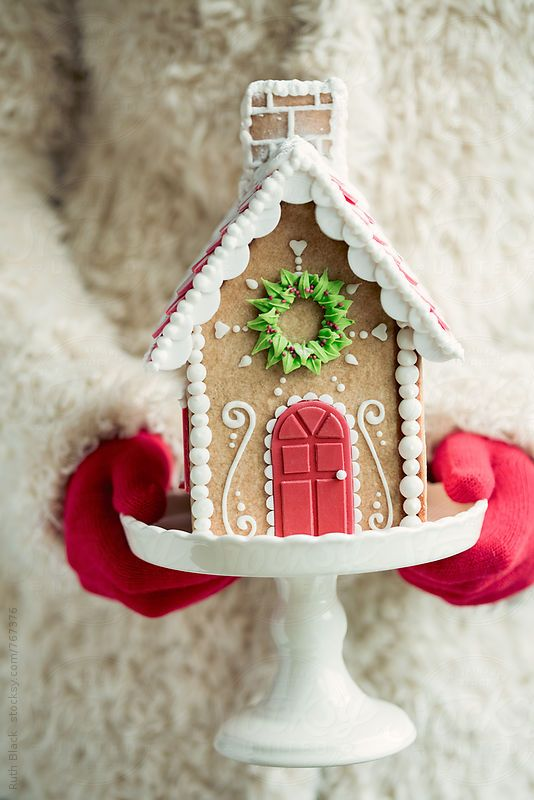 .Nice simple gingerbread house decorated with icing.  I like the fondant door.