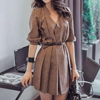 Buy 'Dowisi – Pleated Shirtdress with Belt' with Free International Shipping at YesStyle.com. Browse and shop for thousands of Asian fashion items from China and more!