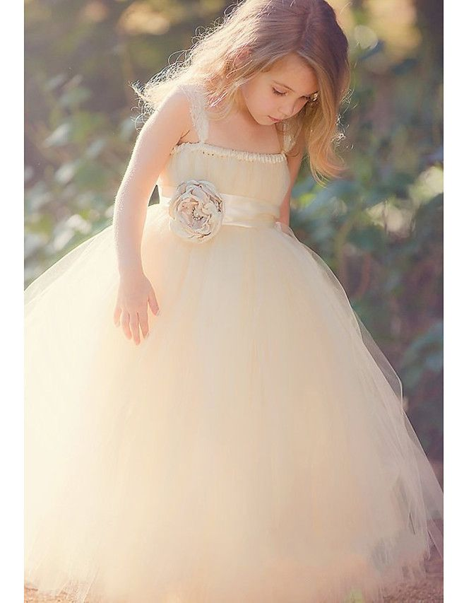 Ball Gown Ankle-length Flower Girl Dress - Tulle / Polyester Sleeveless - USD $69.99