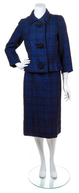 A Balenciaga Blue and Black Wool Plaid Skirt Suit, - Price Estimate: $300 - $400