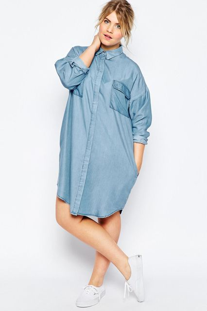 Go bared-legged with this oversized button-up.ASOS Curve Oversized Chuck on Shirt Dress, $66, available at ASOS. #refinery29 http://www.refinery29.com/2016/04/107742/plus-size-spring-fashion-trends-2016#slide-36