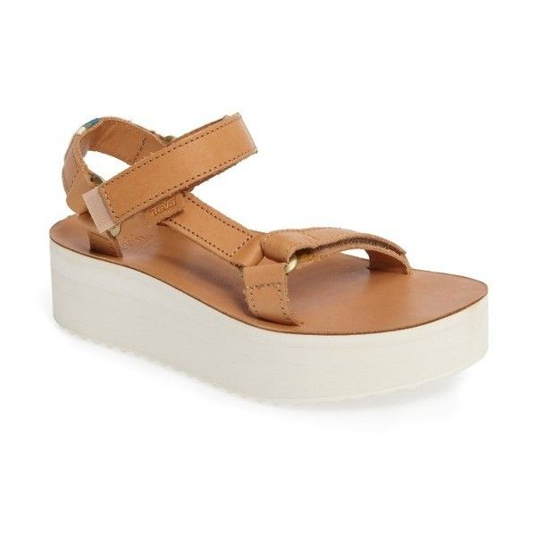 Women's Teva Universal Flatform Sandal ($100) ❤ liked on Polyvore featuring shoes, sandals, tan leather, tan flatform sandals, genuine leather shoes, flatform sandals, traction shoes and tan sandals