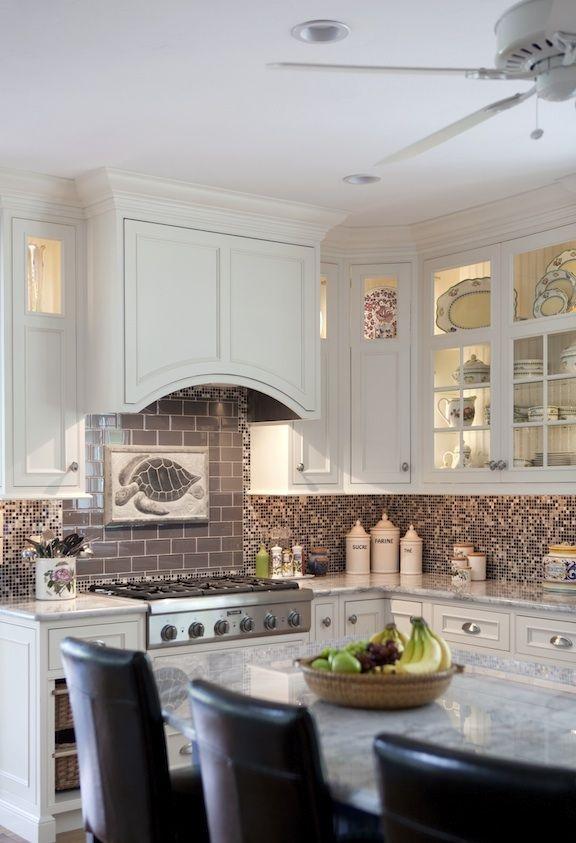 Coastal kitchen mosiac tile stove backsplash for Nautical kitchen backsplash