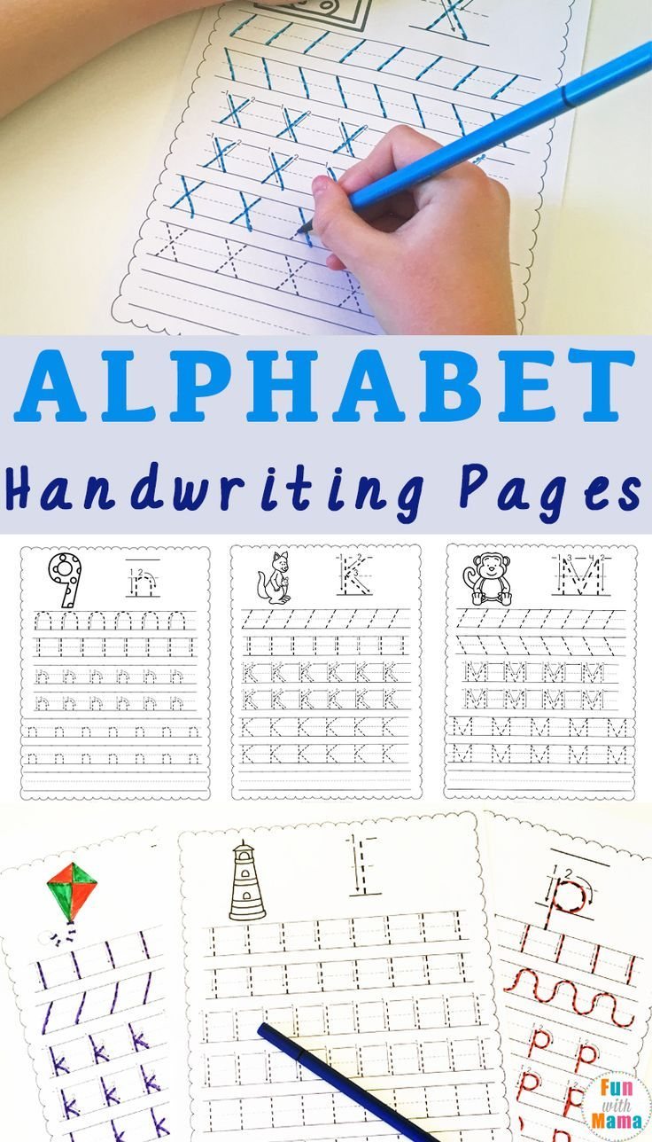 Printable Alphabet Handwriting Pages for preschool or kindergarten. Kids will get practice with letter formation in the correct way. #handwriting #freeprintables #lessonplans #writing #practice #resource #homeschool