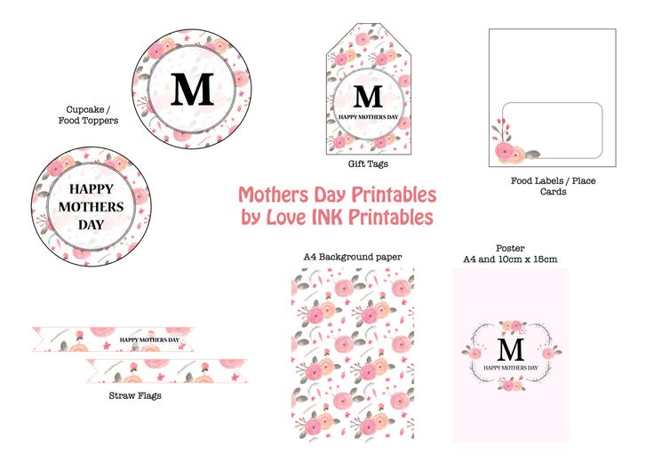 Mothers Day Floral Printables by LoveINKprintables on Etsy