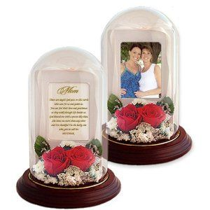 Birthday Gift for Mother from Son or Daughter - Real Preserved Red Roses and Poetry for Mom