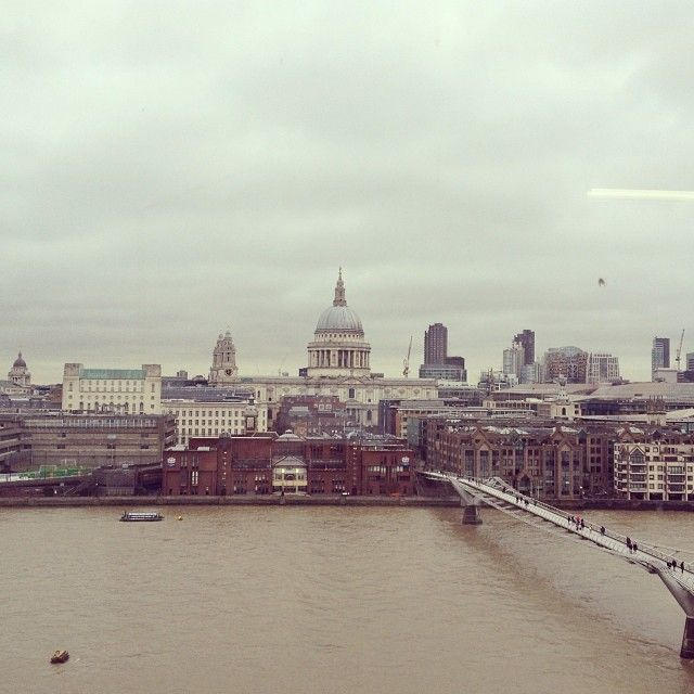 View From The Top Of The Tate Modern Of St Paul S Cathedral And Millennium Bridge London Gloomy Eather 3 In 2020 Millennium Bridge Paris Skyline New York Skyline