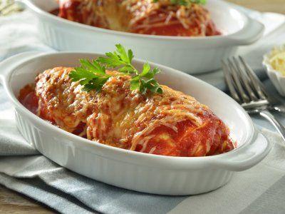 Receta de Rollitos de Pollo a la Parmesana con Espinacas