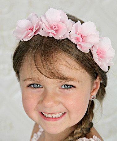 Light Pink Flower Crown Headband - Girls