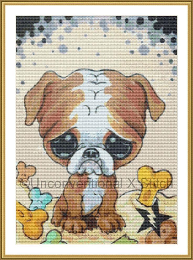 Bulldog dog cross stitch pattern - Licensed Sugar Fueled by UnconventionalX on Etsy