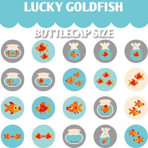 Lucky Goldfish 02098  Printable Circle 1.313 inch by blessedgrafik
