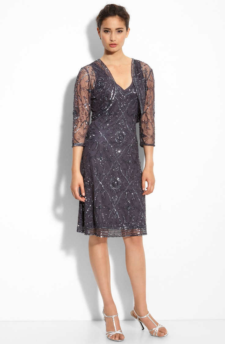Charming Beading/Sequins Knee-Length V-Neck Mother Of The Bride Dress: chiffon-dresses.net
