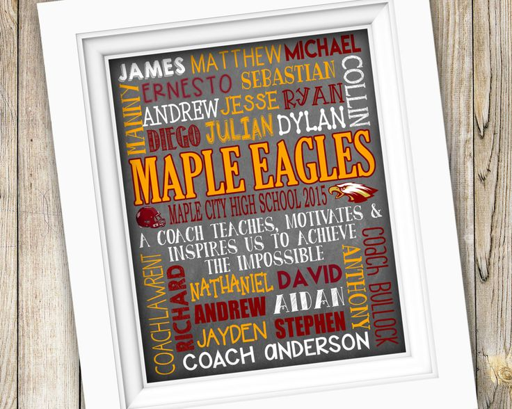 Football Coach Gift ~ End of Season Printable Football Team Gift ~ Personalized…