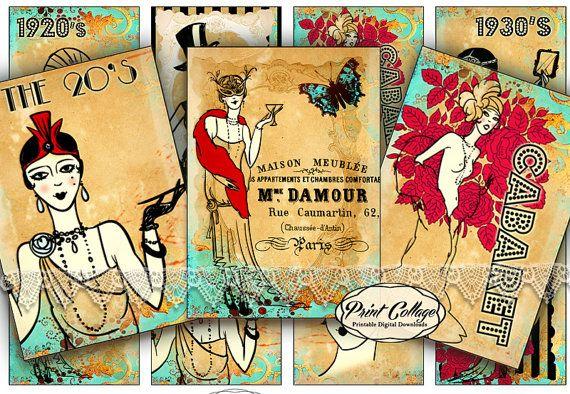 Vintage Ladies images Printable Designed Gift Tags by PrintCollage