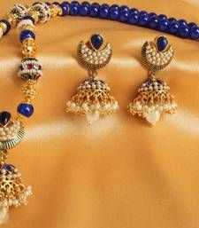Buy GORGEOUS ANTIQUE JHUMKKA PENDANT NECKLACE WITH MATCHING EARRINGS necklace-set online