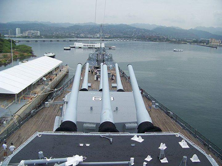 Photo from USS Missouri looking towards the USS Arizona memorial